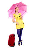 röd resväskayung för flicka fotografering för bildbyråer