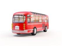 Röd retro buss tillbaka Arkivfoto