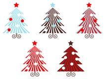 röd retro randig treesvektor för samling stock illustrationer