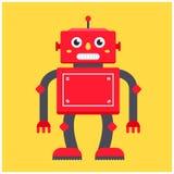 Röd retro robot på en gul bakgrund royaltyfri illustrationer