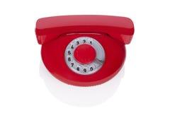 Röd retro telefon. Royaltyfri Bild