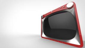 Röd retro TVuppsättning - brett vinkelcloseupskott royaltyfri illustrationer