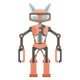 Röd robot med klohänder och två horn Art Icon royaltyfri illustrationer