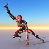 Röd robot som uppåt pekar Royaltyfri Fotografi