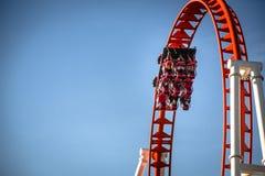 Röd rollercoaster royaltyfri foto