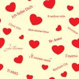 röd romantisk seamless texturvektor för hjärtor vektor illustrationer