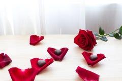 Röd ros med choklad i kronblad på den wood tabellen Royaltyfri Foto