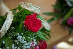 Röd ros med nallebjörnen i ask på träbakgrund, förälskelse Royaltyfria Foton