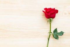 Röd ros på den wood tabellen Arkivbilder
