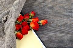 Röd ros på en anteckningsbok och en blyertspenna Fotografering för Bildbyråer