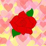 Röd ros på en bakgrund av rosa färg- och gulinghjärtor Royaltyfri Bild