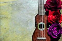 Röd ros på en purpurfärgad gitarrukulelehals och fretboard royaltyfria bilder