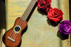 Röd ros på en purpurfärgad gitarrukulelehals och fretboard arkivbild