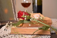 Röd rosa blomma på böckerna och den exponeringsglasröda vinet och flaskan i bakgrund royaltyfri foto