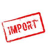Röd rubber stämpel för import som isoleras på vit Royaltyfri Fotografi