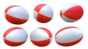Röd rugbyboll X6 royaltyfria foton