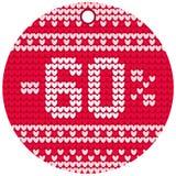 Röd rund etikett för vektorhandarbeteförsäljning Royaltyfria Bilder