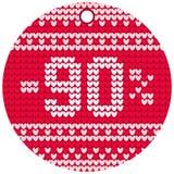 Röd rund etikett för vektorhandarbeteförsäljning Royaltyfri Bild