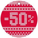 Röd rund etikett för vektorhandarbeteförsäljning Royaltyfri Fotografi