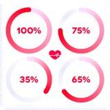 Röd rund infographic framstegstång Arkivbild
