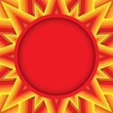 Röd rund text- eller fotoram på dekorativ bakgrund av röda, apelsin- och gulingskuggor Arkivbild