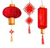 Röd runda för vattenfärg och cylindrisk kinesiska pappers- lyktor och garnering royaltyfri illustrationer