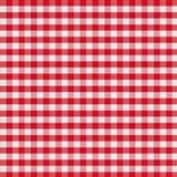 Röd rutig tygbordduk Arkivfoton