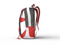 Röd ryggsäck på vit bakgrund - sidosikt Arkivfoto