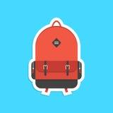 Röd ryggsäckklistermärke med skugga Royaltyfria Bilder