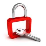 Röd säkerhetshänglås med metallisk tangent Royaltyfri Bild