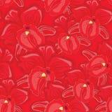 Röd sömlös bakgrund med röda orkidér Arkivbilder