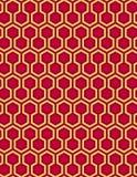 Röd sömlös bakgrund och honungskaka för sexhörningsmodellstil Arkivfoton