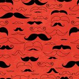 Röd sömlös modell för mustasch Arkivfoto