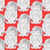 Röd sömlös modell för utsmyckad jultomten, zentangle Royaltyfria Foton