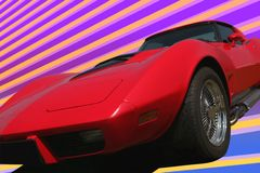 röd s sport för 70 bil Arkivfoto