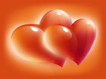 röd s valentin för kortdaghjärtor Arkivfoton