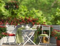 Röd sammansättning på balkongen Royaltyfria Bilder