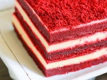 Röd sammetkaka för närbild Fotografering för Bildbyråer