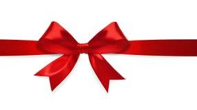 Röd satängbow Royaltyfria Bilder