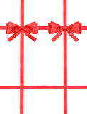 Röd satängpilbågefnuren och band på vit - uppsättning 43 Royaltyfri Foto