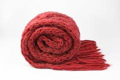 Röd scarf på vit Fotografering för Bildbyråer