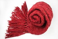 Röd scarf på vitbakgrund Royaltyfria Bilder