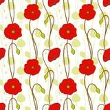 röd seamless springtime för blommamodellvallmo Arkivbild