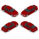 Röd Sedanbil Plan isometrisk högkvalitativ uppsättning för stadstransportsymbol också vektor för coreldrawillustration Arkivfoton