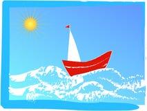 röd segling för fartyg royaltyfri illustrationer