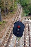 röd semaphoresignalering för järnväg royaltyfria foton