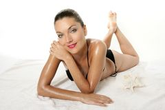 röd sexig kvinna för härliga bikinikanter Fotografering för Bildbyråer