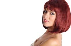 röd sexig kvinna för hårstående Arkivbild