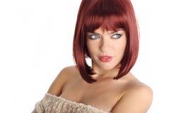 röd sexig kvinna för hårstående Arkivfoto
