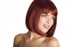 röd sexig kvinna för hårstående Arkivbilder